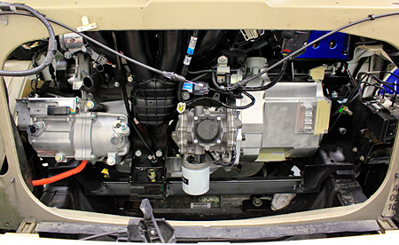 Hybrid Electric Drive Train Installation In Ford F 150 2 Liter Engine And Motor Pictured