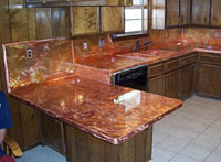 Counter With Kaleidoscope Effect Copper Countertops With Backsplash