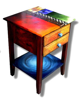 Great Studio 78 Tune Table, Copper And Painted Wood.