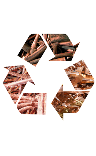 Recycle symbol made with copper materials