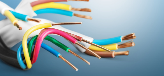 Close up image of electrical wires