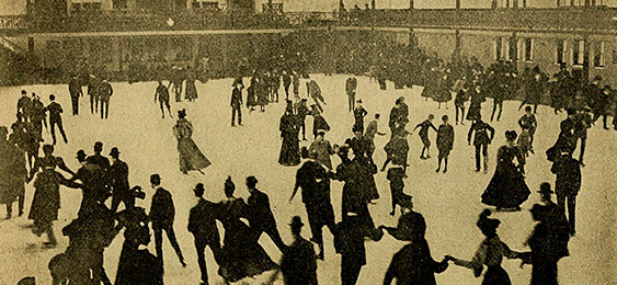 Old picture of people skating