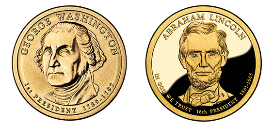 Washington and Lincoln dollar coin