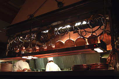 Copper pots in the kitchen